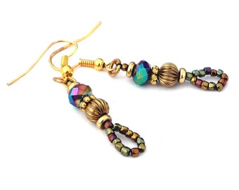 Boho Style Earrings, Carnival Colors Blue, Purple, Gold and Green, Delicate Bead Pierced Earrings