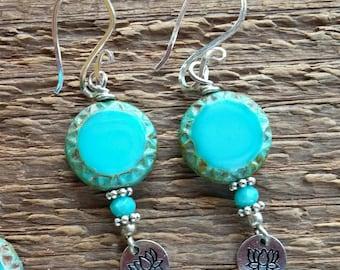 Lotus Earrings, Dangle Earrings, Yoga Earrings, Ohm Earrings, Bohemian Jewelry