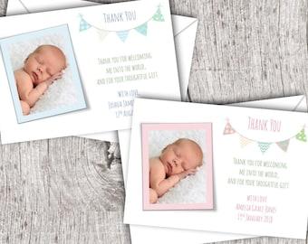 Personalised Photo THANK YOU Cards inc. envelopes - Flat Style - Baby/Child/Boy/Girl Bunting