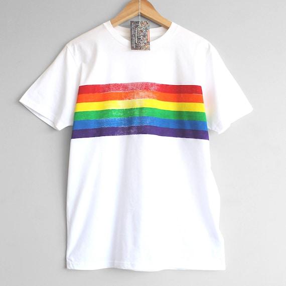 RETRO STRIPES t shirt. 100% organic cotton t-shirt. Hand printed. Pride shirt. Rainbow stripes. Rainbow t-shirt