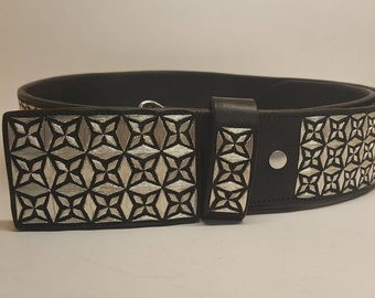 Beautiful handmade belt 100% hand embroidered with silver thread. Size 39-40