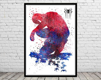 Spiderman inspired,  Art Print, Superhero Art, Spiderman Poster, Spiderman Print, Marvel (1294b)