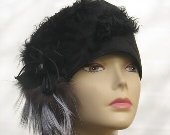 Winter hat black medium size handmade beanie womens accessory gift cosy boho hat soft headcover black beanie Eco friendly headwear accessory