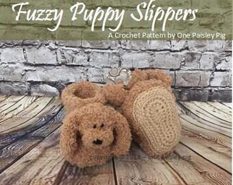 Fuzzy Puppy Slippers - PDF CROCHET PATTERN
