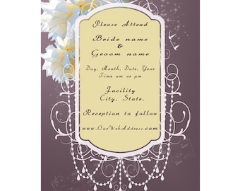 Mauve, Dark Purple, Cream and Yellow – Peonies and Pearls are Perfect for a Wedding plus Birds and Music - Printable Invitation Set #147