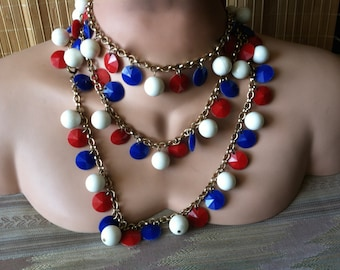 "Vintage 60's   ""RED WHITE & BLUE"" Beaded Necklace Multi Colored Strand - Super Long Versatile Styles"