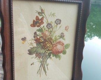 Pair of vintage T L Lrevost floral prints