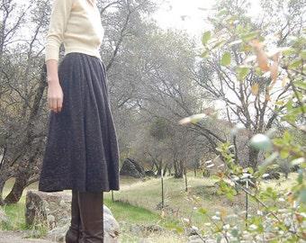 Wool Skirt Vintage 60s Dark Brown Wool Tweed Speckled Pleated Full Skirt (xs)