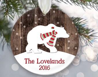 Woodland Family Name Ornament, Woodland Bear Ornament, Woodland Moose Ornament, Personalized Christmas Ornament, Christmas Plaid OR017