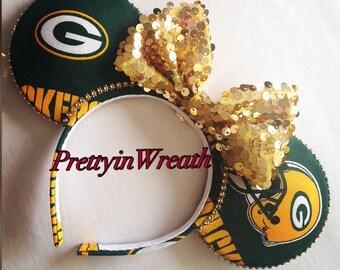 Green Bay Packers inspired Mickey Mouse ears headband