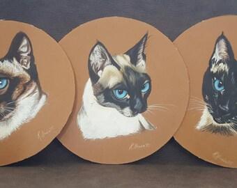 Original siamese cat paintings - trio of gouache cat paintings - vintage cat painting- set of three cat paintings - siamese cats