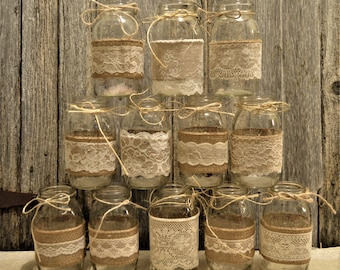 Wedding Centerpieces, Bridal Shower Decorations, Burlap Mason Jars, No Jars, Mason Jar Wedding, Baby Shower Decorations, Rustic Centerpieces