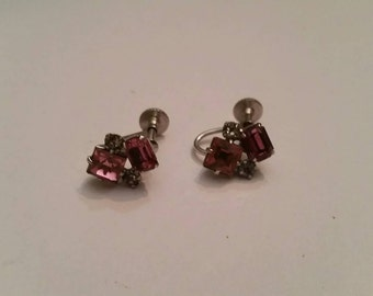Vintage Pink Rhinestone Silver Earrings Costume Jewelry Wedding Party