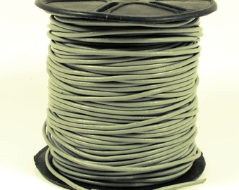 Gray Leather Cord, 2mm, Lead Free, Genuine Leather Cord, Round Leather Cord