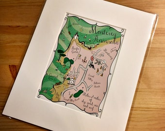 Monterey Peninsula Map Art Print