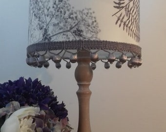 INTO THE FOREST: 20cm drum shade, Nature inspired Designer Guild fabric with silk trimmings.