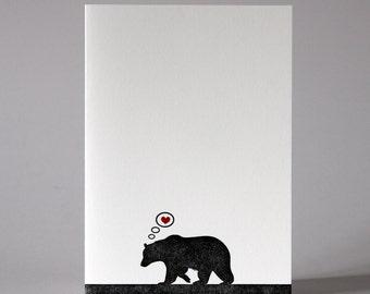 Bear in Love - Letterpress Greetings Card - Anniversary - Valentine's Day