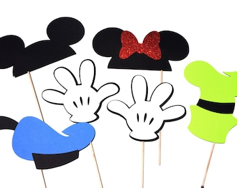 Photo Booth Props - Mouse and Friends Photo Booth Props - Set of 6
