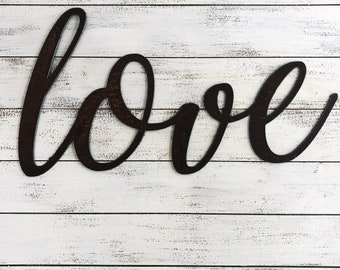 "Love - Script - 18"" Rusty Metal Script Sign"