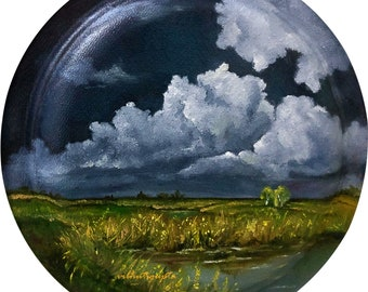 Circular Handpainted plate of clouds and realistic scenery