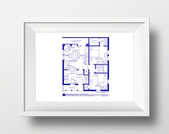 Stunning fictional famous tv show floor plans by tvfloorplans i love lucy ethel and fred mertz apartment tv show layout blueprint poster malvernweather Gallery