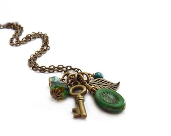 Skeleton Key Charm Necklace - Emerald Green Picasso Glass - Bronze Leaf - Glass Flower Victorian Style Delicate Necklace