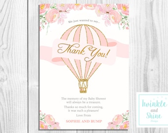 Printable Baby Shower Thank You Card, Baby Girl, Baby Shower, Hot Air Balloon, DIGITAL DOWNLOAD
