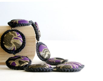 Crochet Necklace Grey Radiant Orchid and Gold Crochet Jewelry