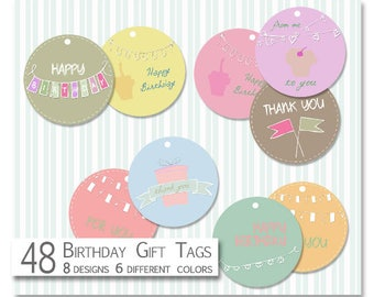 Printable Birthday Tags-Party Tags-Digital Gift Tags-Scrapbooking Tags-Birthday Gift Tags- Thank you Tags-Party Favor Tags-Instant Download