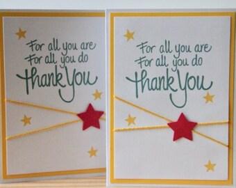 Teacher Appreciation Card.  Teacher Thank You Card.  For All You Are, For All You Do, Thank You.  Classroom Teacher Card.  Thank You Card