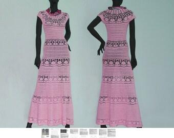 Maxi dress crochet PATTERN for sizes XS-3XL, detailed tutorial in ENGLISH, crochet beach dress pattern, beach wedding crochet dress pattern.