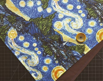 READY TO SHIP-Vincent Van Gogh-Starry Night-Bandana/Scarf-Snapback-Unisex-Artsy Gifts-One Of A Kind