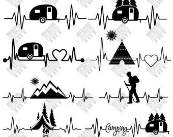 Camping svg - Camping heart beat svg - Camping heart beat digital clipart for Print, Design or more, files download svg, png, dxf