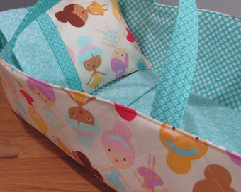 Doll Carrier, Will Fit Bitty Baby and Wellie Wisher Dolls, Ballerina Fabric with Aqua Lining, 16 Inches Long, Doll Basket
