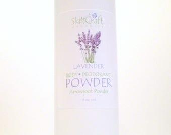 Natural Bath Powder - Lavender Powder - Deodorant Dusting Powder - Lavender Body Powder - Non GMO Arrowroot -  - 6 oz vol Shaker Bottle