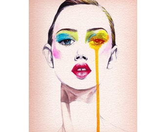 Fashion illustration , wall art , Fashion portrait , Titled- Fashion Model