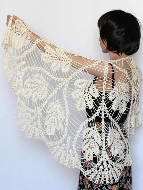 Ivory off white shawl lace knit Shawl Wedding Shawl Wraps