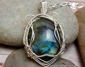 Blue Green Labradorite Cabochon Wire Wrapped Pendant