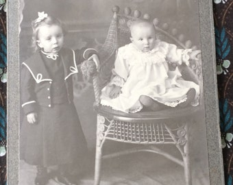 Edwardian Black & White Photograph of Children Baby and Sister