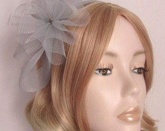 SILVER GREY FASCINATOR , Made with crin, and feathers, on Matching headband