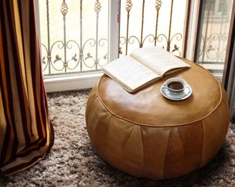 Leather Pouf Vintage Look
