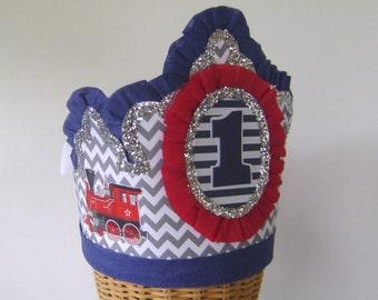 boys 1st Birthday hat, boys 1st birthday Crown, boys birthday hat, train birthday hat, cistomize