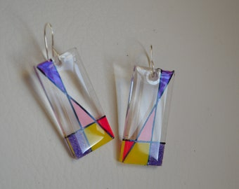 Oblong Clear Jewelry fused with Pinks/ Purple colors Gifts for her, Quirky, Rockabilly ,Bold Jewelry, Quirky jewelry