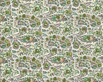Fabric in shades of green printed paisley Paisley and flower motifs