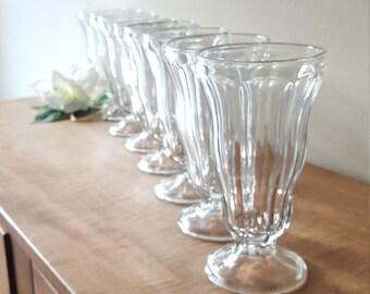 8 Ice Cream Parlor Soda Fountain Glasses~Root Beer Float Glasses~Ice Cream Sundae Cups~1970s Malt Cups