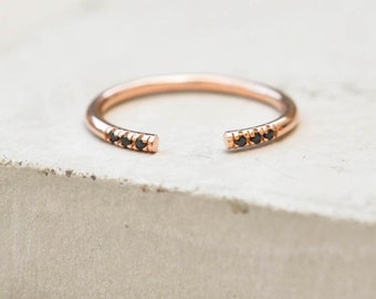 Dainty, Thin Open, Adjustable, Regular or Midi Knuckle ring - ROSE GOLD & Black Stones- Stacking Band Ring - quarter eternity band
