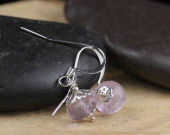 Pink Amethyst Faceted Gemstone Rondelle Earrings