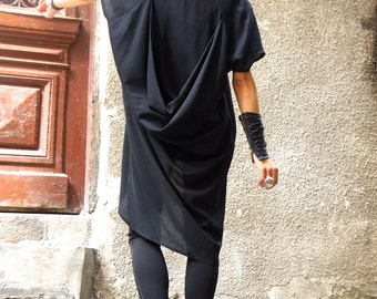 NEW COLLECTION  Black  Loose Extravagant Shirt / Asymmetric shirt / Oversize Party Top by Aakasha A11326