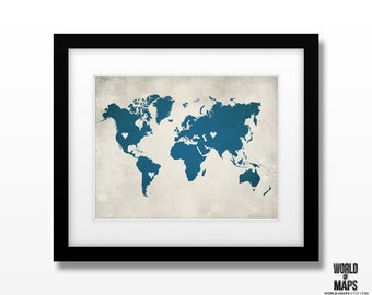 World Atlas Map Art Print - Home Town Love - Personalized Art Print Available in Multiple Size and Color Options