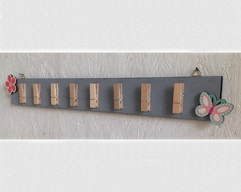 Scarf holder, card holder, photo holder made of wood, with small-clothespins